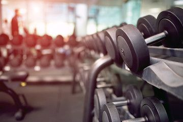 free weights in gym at August Court in Houston