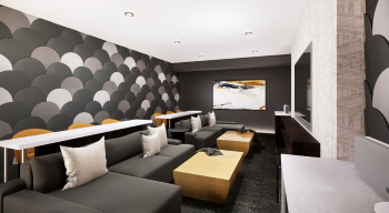 Media Lounge at The Apex at CityPlace Luxury Apartments