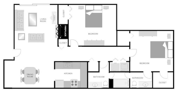 Imperial Mimosa 2 bedroom 1.5 bathroom floor plan at Pecan Acres