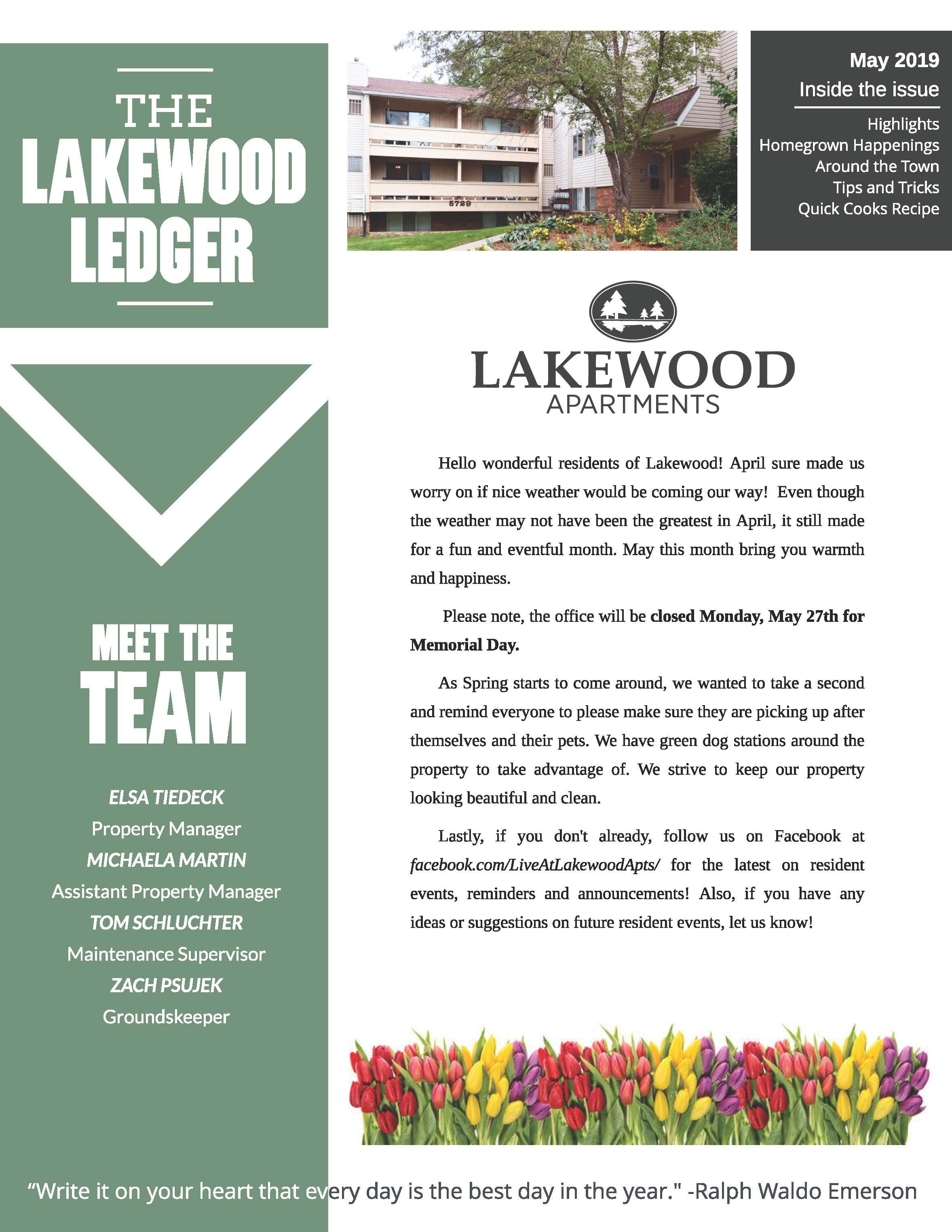 May 2019 Newsletter The Lakewood Ledger