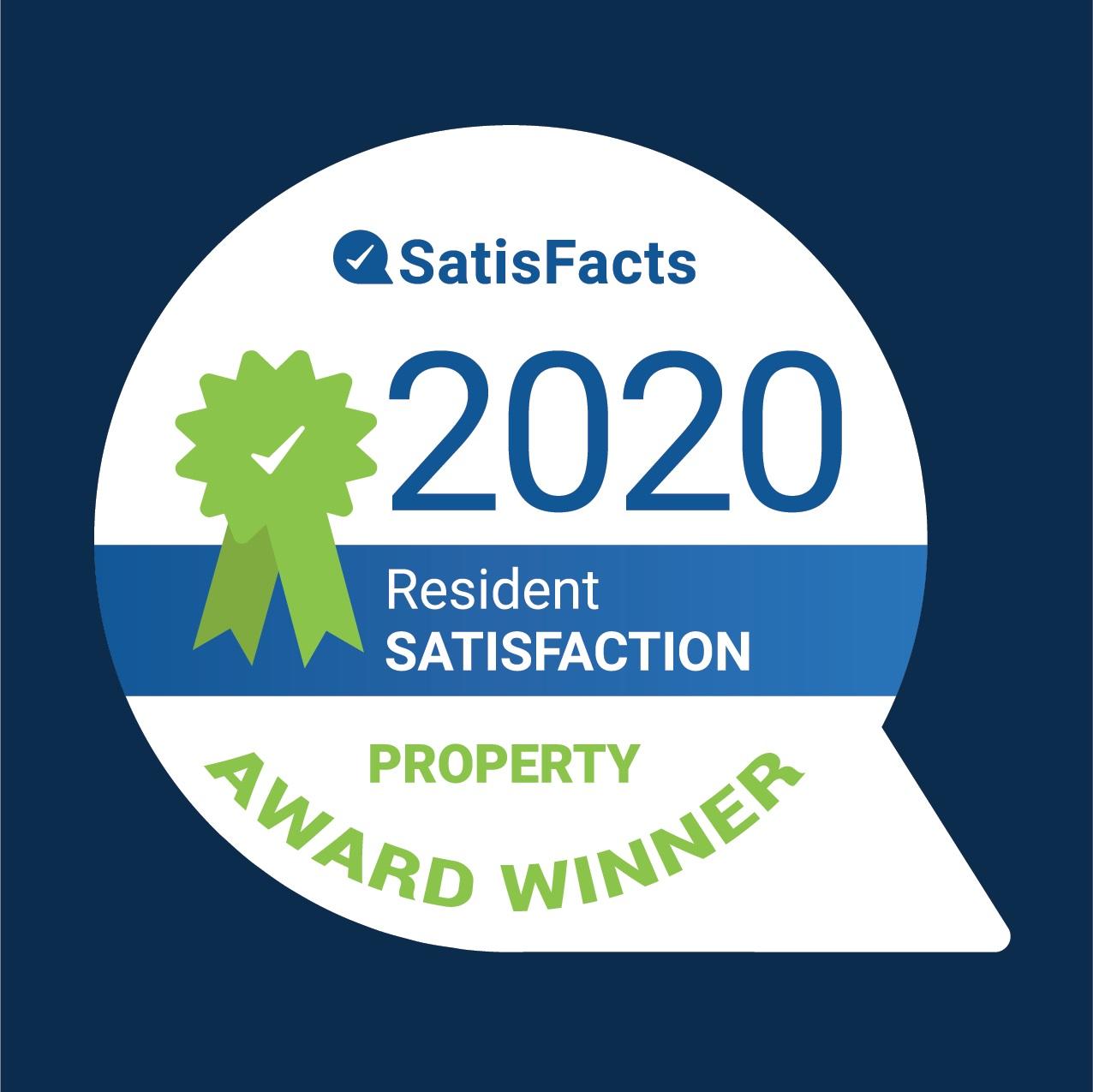 2020 SatisFacts Resident Satisfaction Property Award Winner
