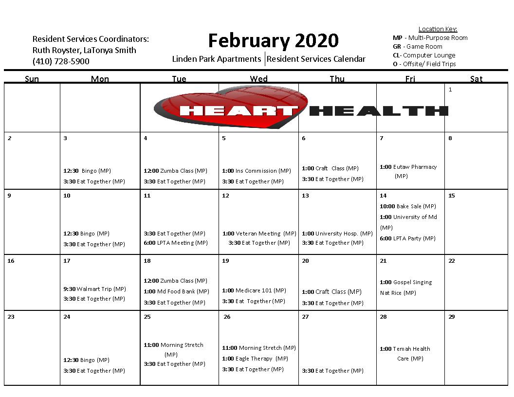 Linden Park February 2020 Activity Calendar