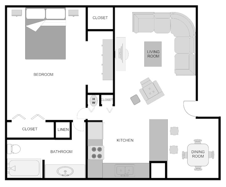 Imperial Wisteria 1 bedroom 1 bathroom floor plan at Pecan Acres