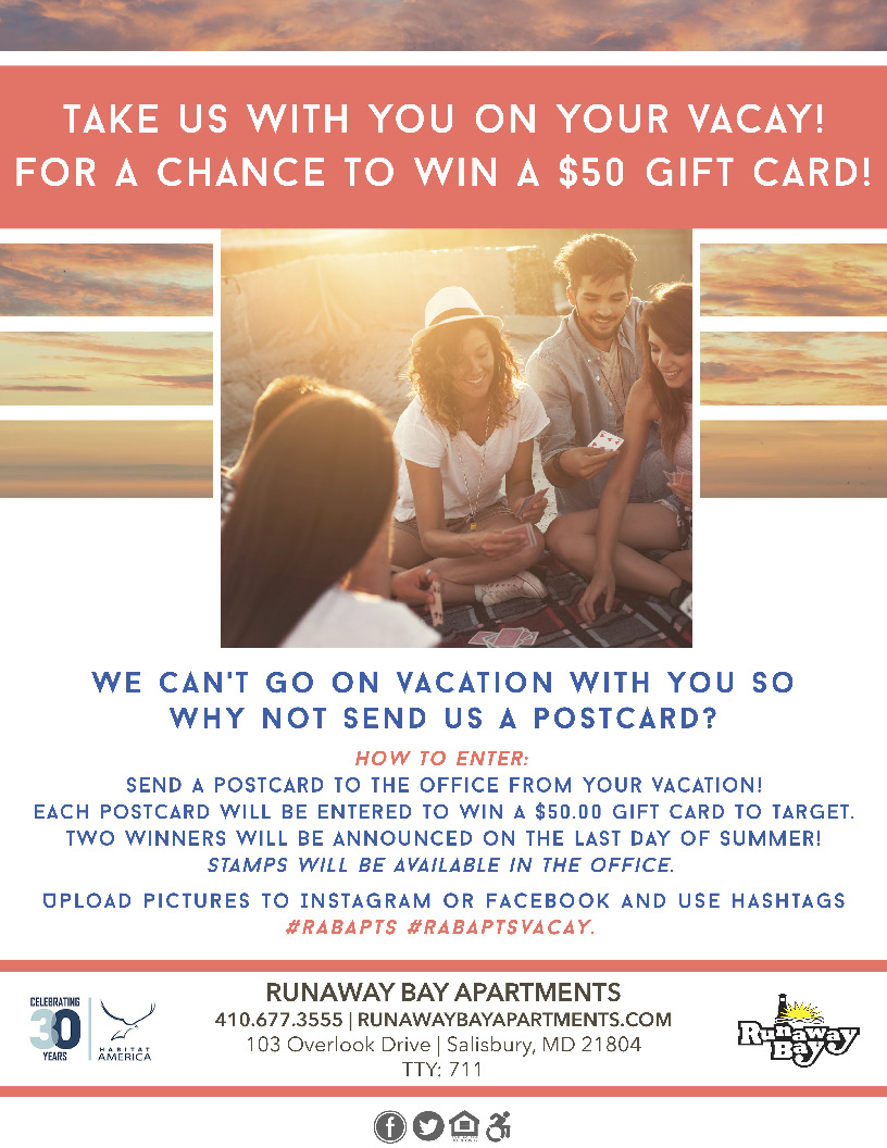 Take us with you on your vacay for a chance to win a $50 gift card. Send the office a postcard from your vacation!