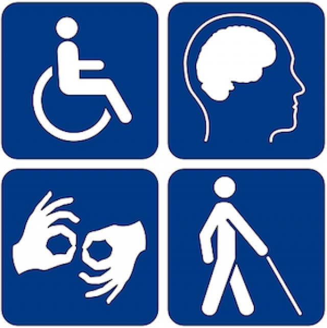 Four symbols representing physical, cognitive, auditory, and visual disabilities.