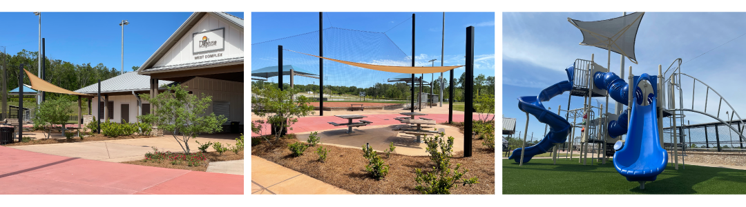 Daphne Sports Complex pavilion, picnic, and playground areas