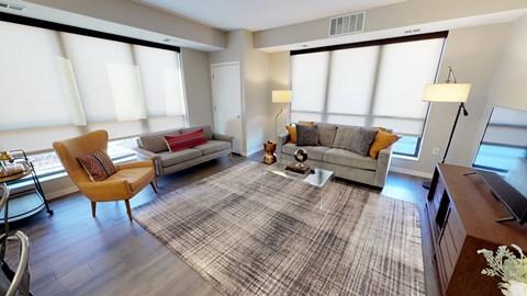 Timber floor plan corner living room