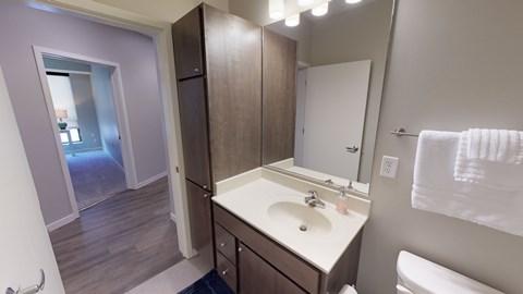 Bathroom with linen storage