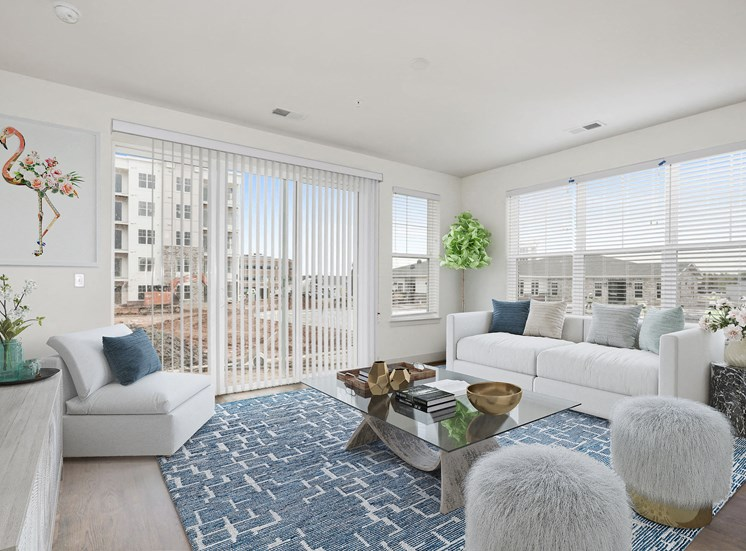 Decorated Living Room With Natural Light at Avenue Grand, Maryland, 21236
