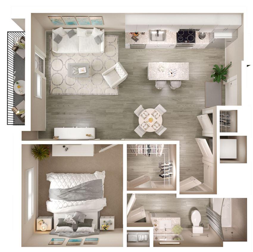 1 bed 1 bath 780 SF