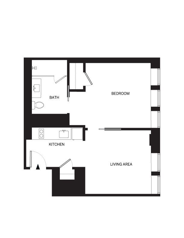 1 bedroom 716 sf