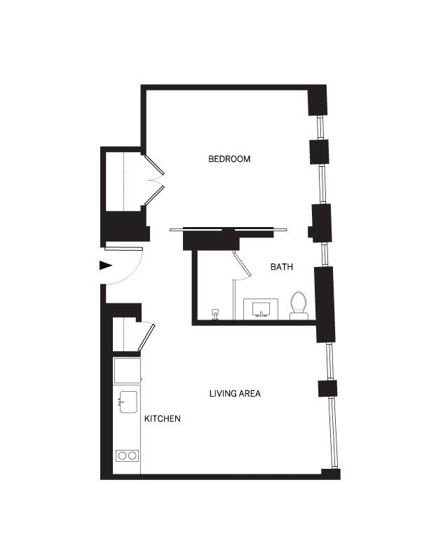 1 bedroom 576 sf