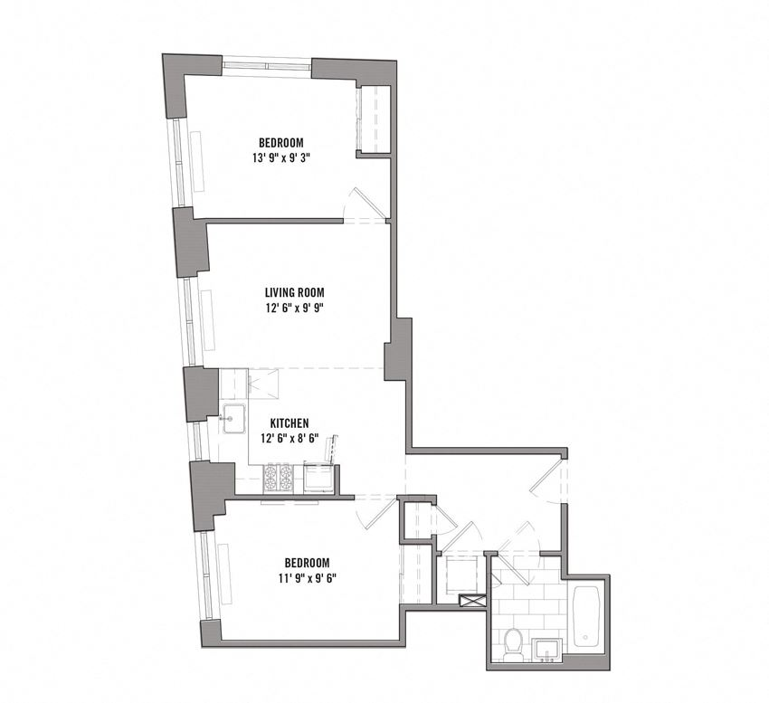 15 Cliff 2 Bedroom/ 1Bath  Floorplan