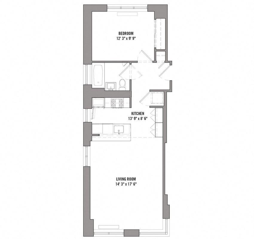 15 Cliff 1Bedroom/ 1Bath  Floorplan