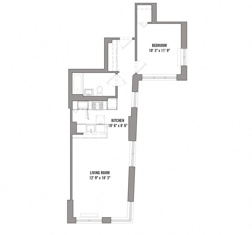 15 Cliff 1Bedroom/ 1 Bath  Floorplan