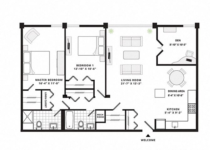 Two Bedroom Two Bathroom  Superior with Den