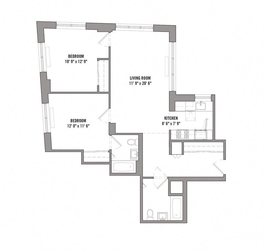 15 Cliff 2 Bedroom/2Bath  Floorplan