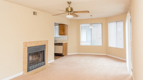Living room with ceiling fan at Laurel Grove Apartment Homes, Orange Park, FL