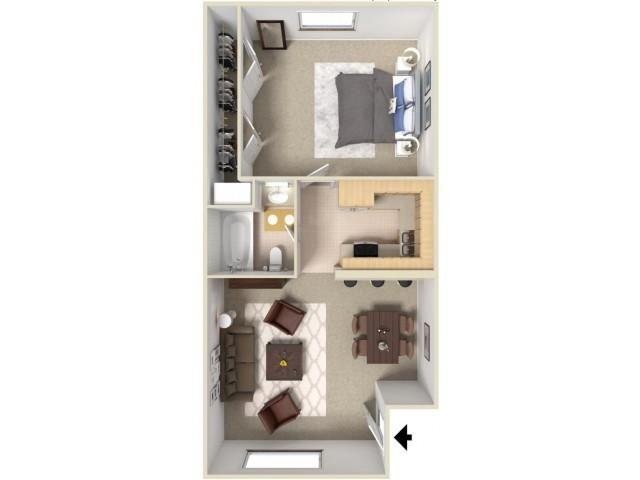 1 Bed one bath floor plan at Green Oaks Apartments, Florida