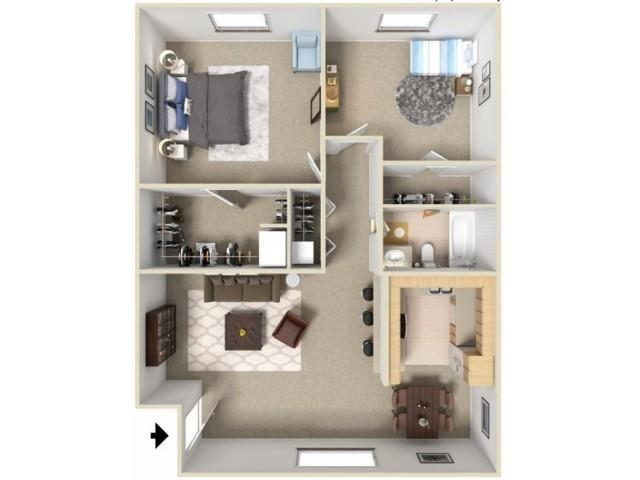 2 bed 1 bath floor plan at Green Oaks Apartments, Florida