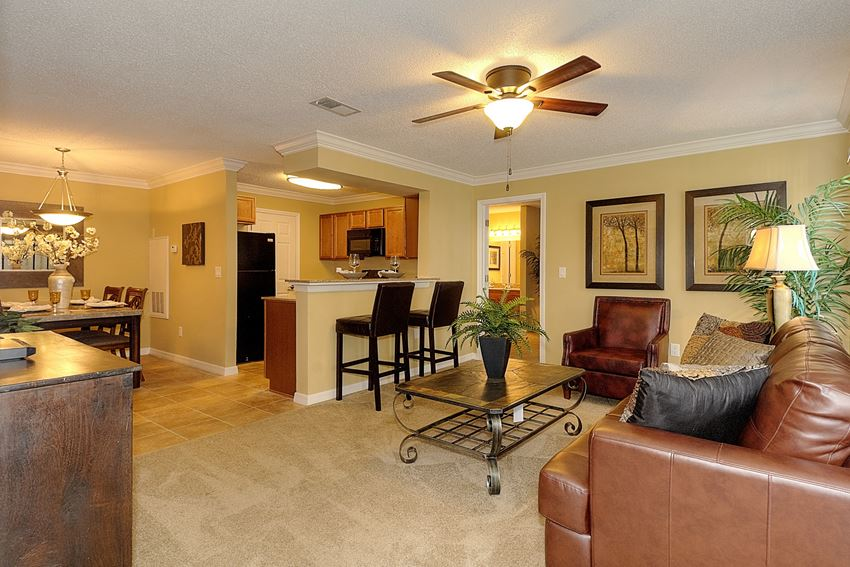 Living room with dining bar at Forest Lakes Apartment Homes, Oldsmar, 34677