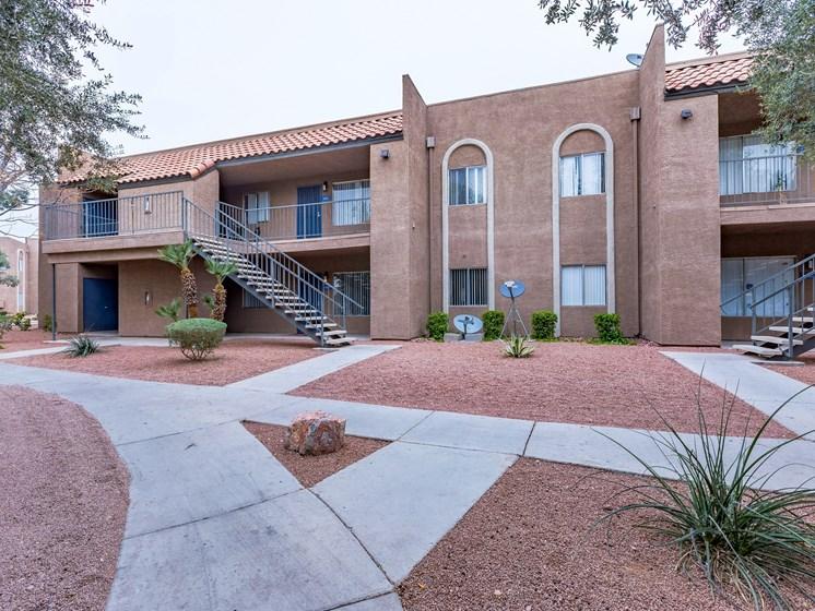 Exterior Building Walking Path at Playa Vista Apartments, Pacifica SD Management, Las Vegas