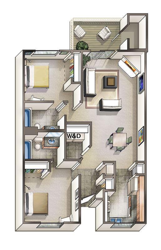 two bedroom floor plan rental leland nc