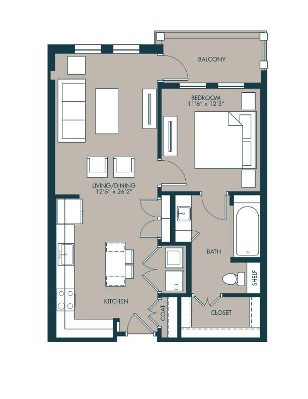 750 sf one bedroom floor plan