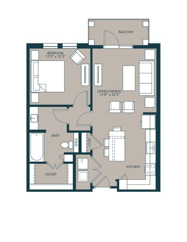 810 sf one bedroom floor plan