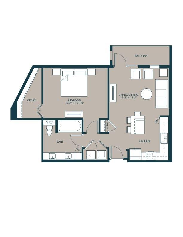 840 sf one bedroom floor plan