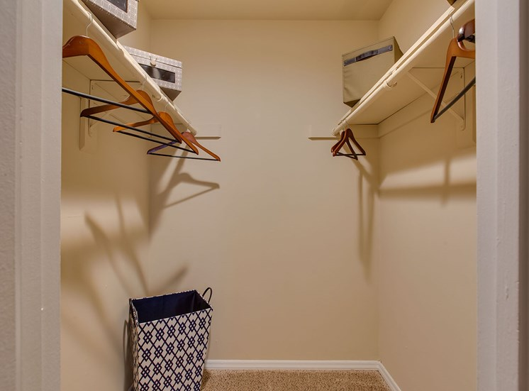 walk in closet with hangers