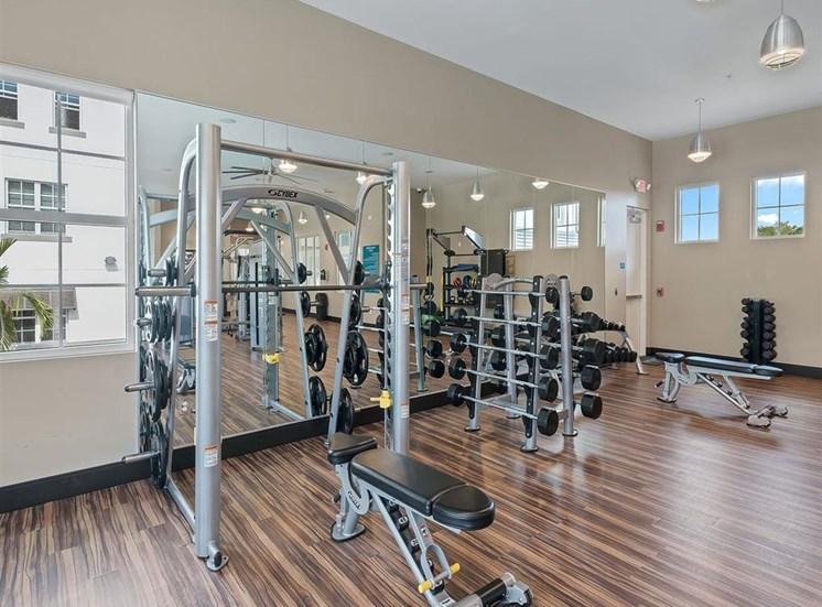 Weight training equipment in fitness studio at Inspira, Naples, Florida