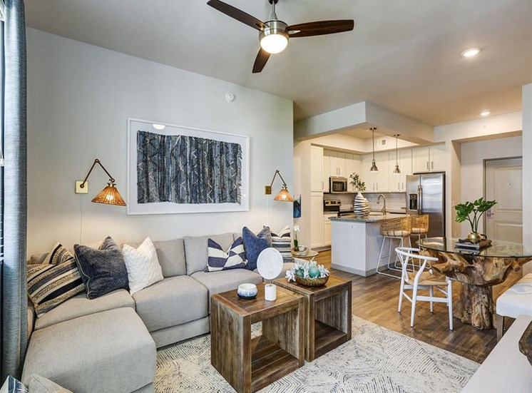 Living Room and Kitchen in two bedroom model apartment at Inspira, Naples, 34113