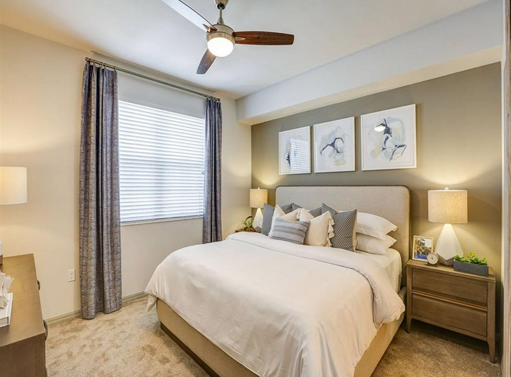 Bedroom in two bedroom model apartment at Inspira, Naples, FL