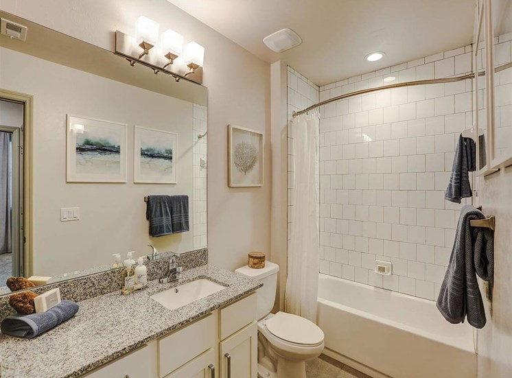 Second Bathroom in two bedroom model apartment at Inspira, Naples, FL, 34113