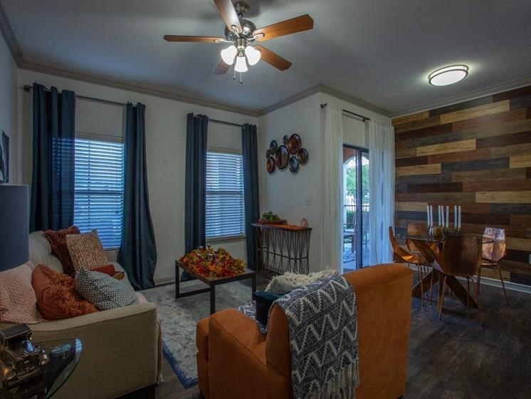 Sofa, Ceiling Fan, Dinning Table in Living Room at Teravista, Round Rock, TX, 78665