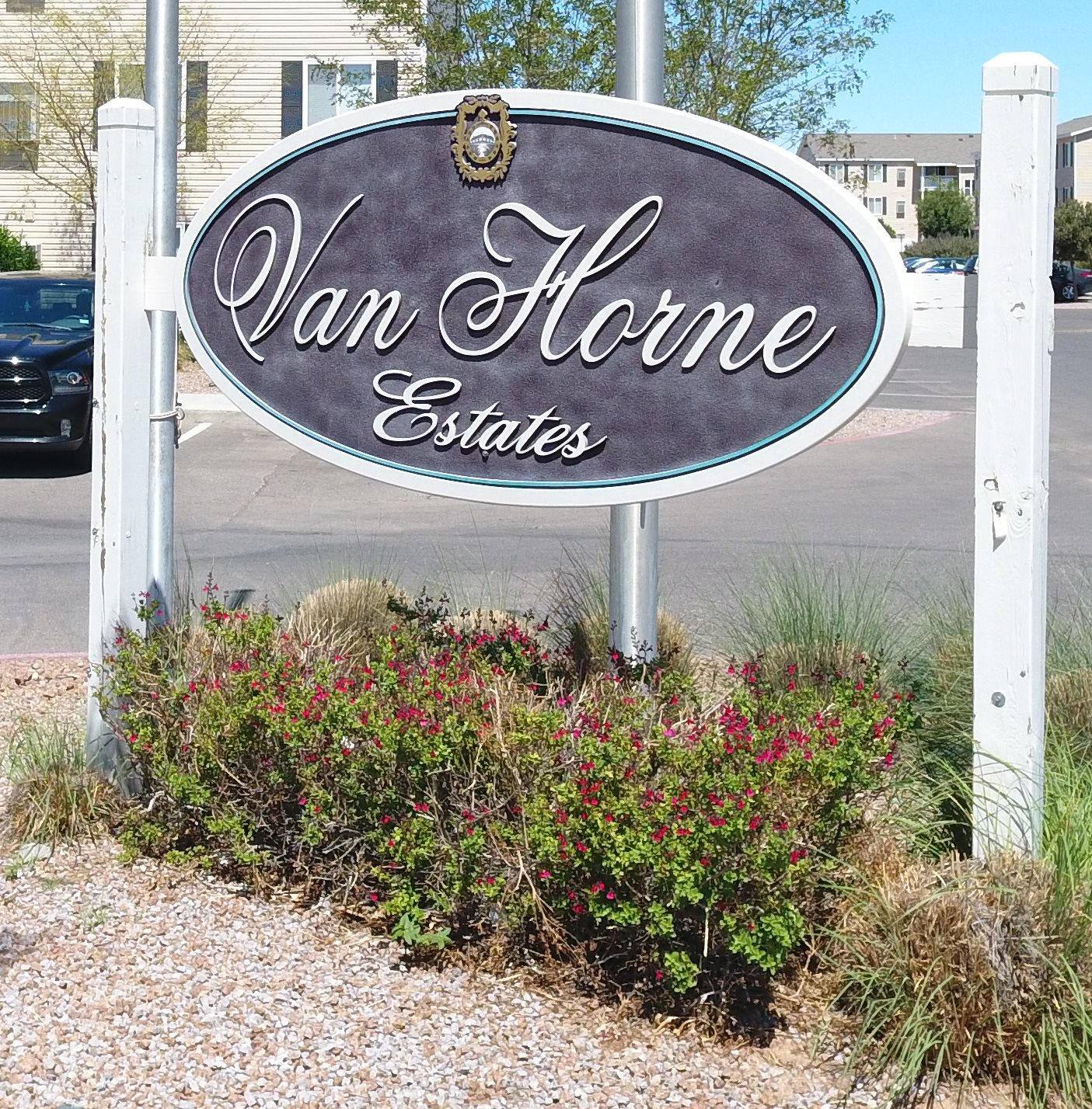 Sign at Van Horne Estates Apartments, Texas