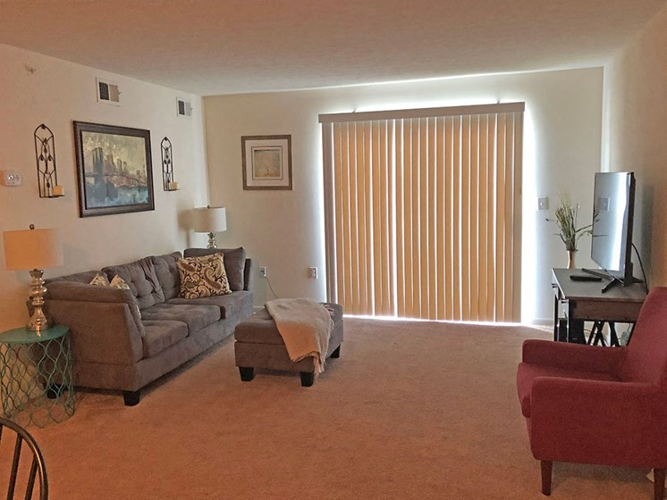 Classic Living Room Design With Television at Walker Estates Apartments, Augusta