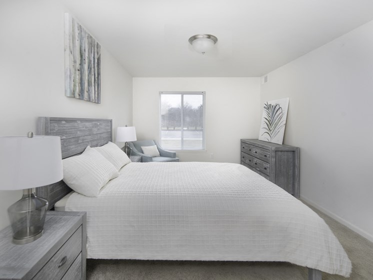 Beautiful Bright Bedroom With Wide Windows at Steedman Apartments, MRD Conventional, Waterville, Ohio