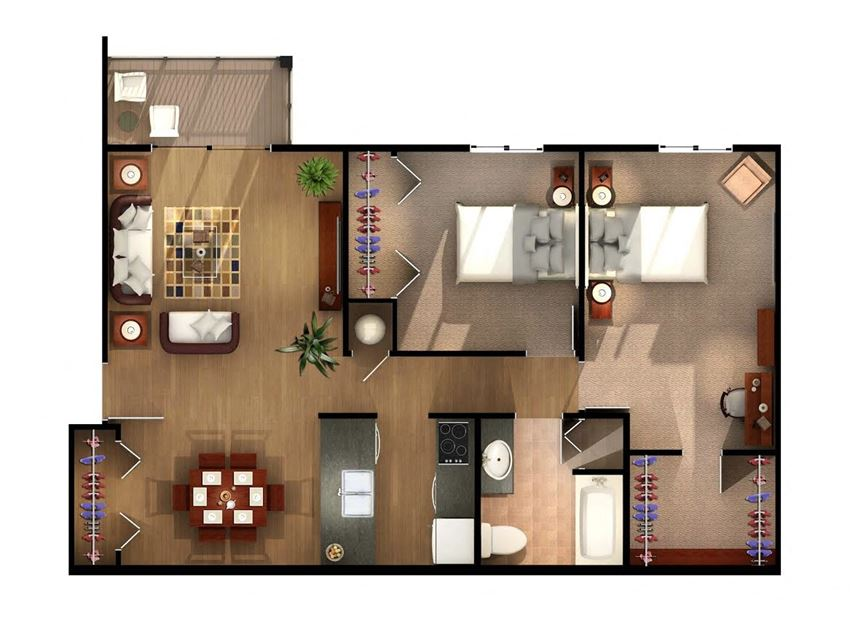 Two Bedroom One Bathroom Floor Plan at Geary Estates Apartments, MRD Conventional, Kansas, 66441