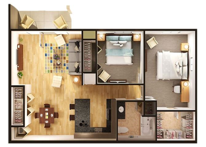 Two Bedroom One Bathroom Floorplan at Dutton Estates, St. Clair, 48079