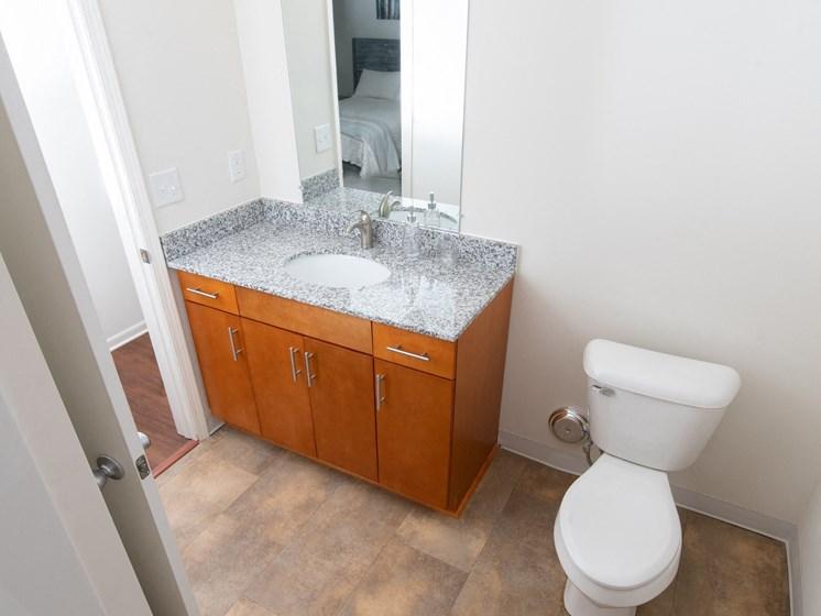 Bathroom with Vanity Lights at Steedman Apartments, MRD Conventional, Ohio