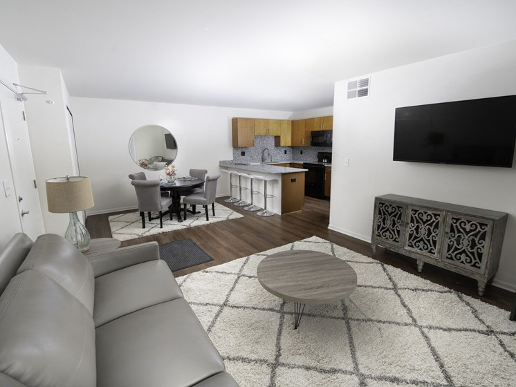 Living Room Come Kitchen View at Steedman Apartments, MRD Conventional, Waterville