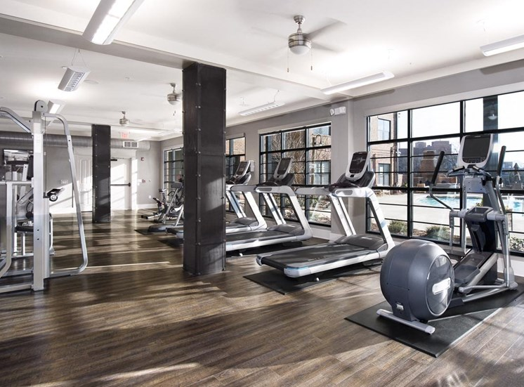 Open and airy exercise room at Westside, 790 Huff Rd. NW  Atlanta, GA 30318