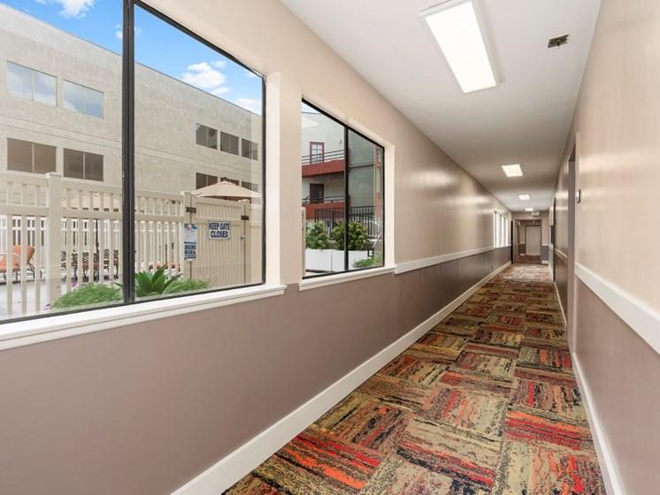 Hallways at Woodland Trio Apartments