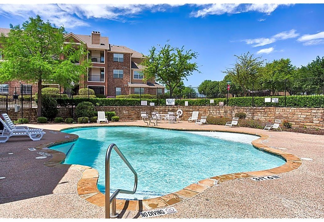 Sparkling swimming pool at The Life at Westland Estates in Fort Worth, TX.