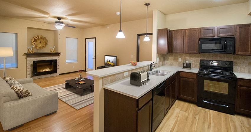 Open Concept Kitchen and Living Room with 9 Foot Ceilings