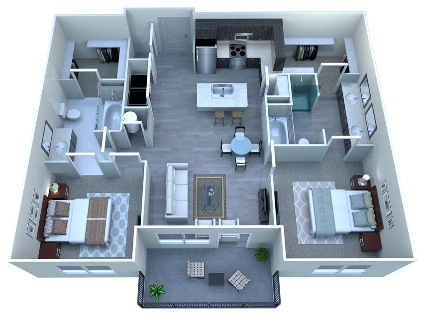 2 Bedroom 2 Bathroom Floor Plan at Tempo At McClintock Station Apartments in Tempe AZ