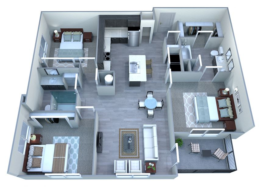 3 bedroom 2 bathroom floor plan at Tempo At McClintock Station in Tempe, AZ