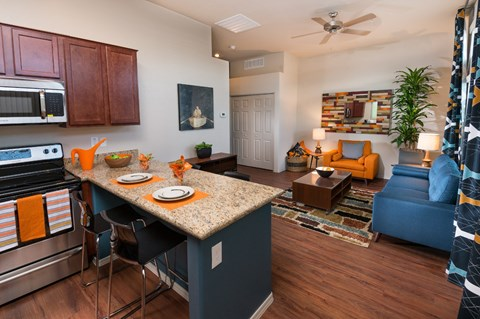 Breakfast bar and living room at Casitas at San Marcos in Chandler, AZ